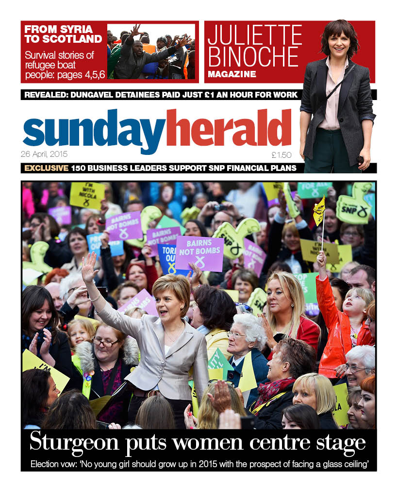 Sunday Herald (26 April 2015) front page