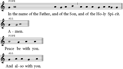 chant setting of 'In the name of the Father...'